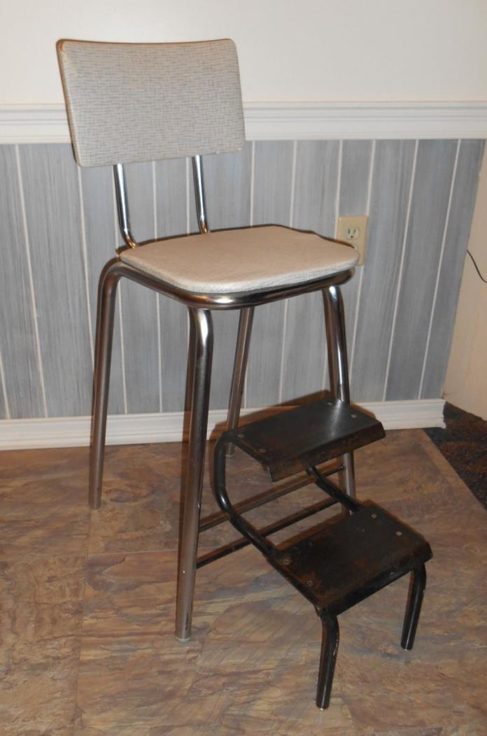 Vtg COMFORT LINE Fold Down STEP STOOL Folding Metal Seat Utility Bar Chair