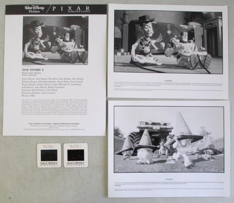 WALT DISNEY PICTURES TOY STORY 2 MOVIE PRESS INFO & PHOTO KIT w/ 2 35mm SLIDES
