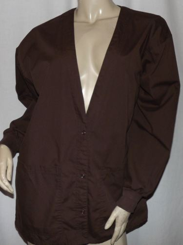 TAFFORD Brown Snap Front Lab Coat Size M