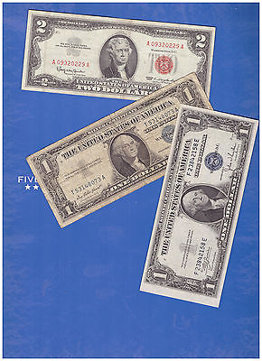 1-1963-2-DOLLAR-RED-SEAL-AND-1-1935 &1-1957-SILVER-CERTIFICATE-LOT-M948