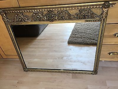 Antique Large Ornate Gold Gesso Wood Framed Mirror