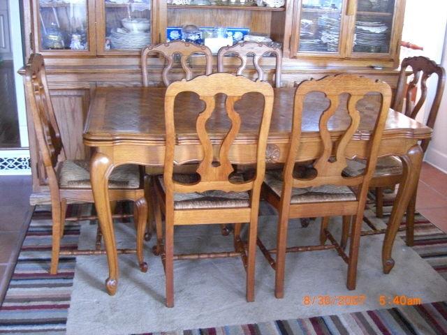 Vintage OAK French Louis XV style Rush Seat Chairs.Beautiful Set 6 Splat Backs
