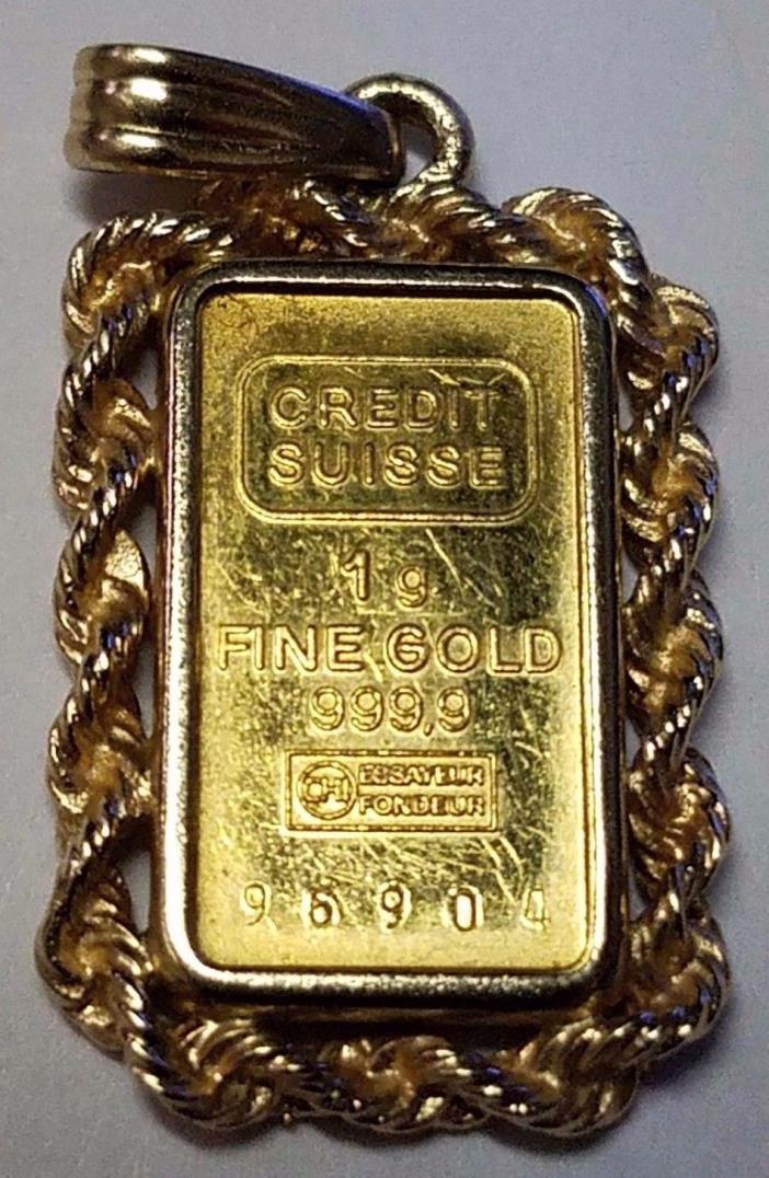 Credit Suisse 1 gram 999.9 Fine Gold Pendant in 14K Pendant & Bale 2.4g TW