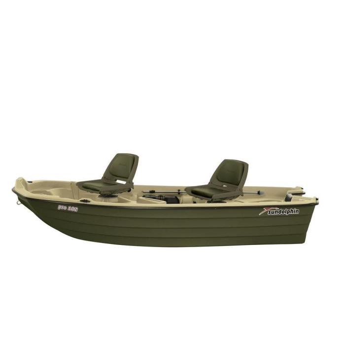 Beige Impact Resistant Pro 10.2 ft. Polyethylene Fishing Boat with Swivel Chairs