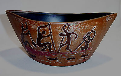 Decorative Ceramic Bowl African Queen Collection Natives Rowing A Canoe