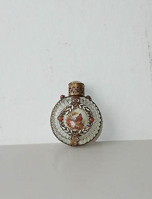 Antique Czech Glass Perfume Bottle Cameo Carnelian Mini Filigree Enamel
