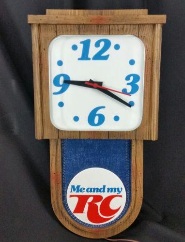 Vintage Royal Crown RC Cola lighted clock display sign Me and My denim logo