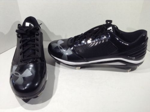 UNDER ARMOUR Mens Black White Baseball Metal Cleats Athletic Shoes Sz 16 Z3-325