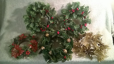 VINTAGE 1960'S CHRISTMAS PLASTIC HOLLY POINSETTIA CANDLE RINGS