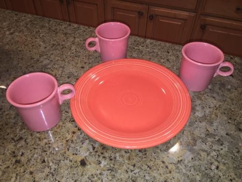 FIESTA WARE SET OF 3 COFFEE MUGS AND 1 DINNER PLATE