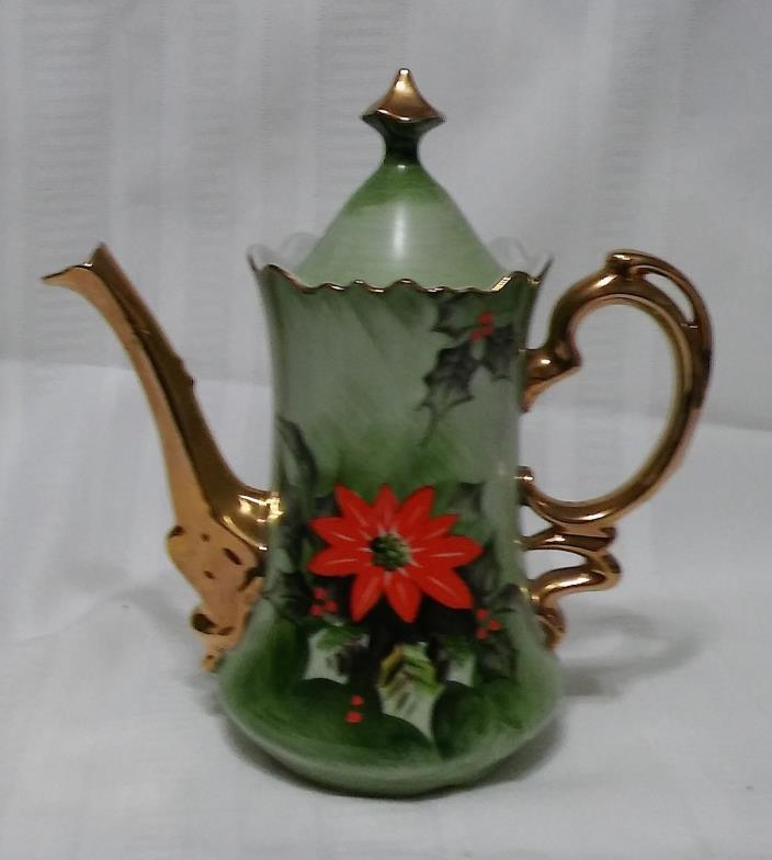 Lefton Limited Edition Poinsetta Teapot