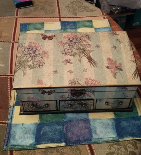 VINTAGE BUTTERFLY BOX FLIP TOP 3 DRAWERS