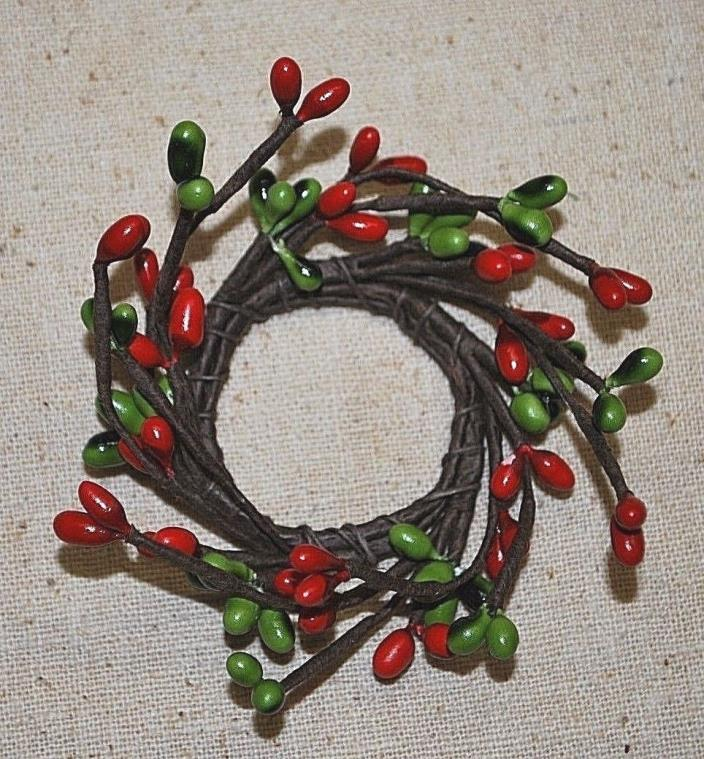 Red & Green Pip Berry Candle Ring  ... 1-1/4