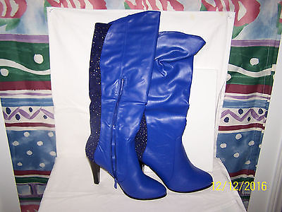 MIDNIGHT VELVET BACK RHINESTONE BOOTS SIZE 9 WIDE BLUE