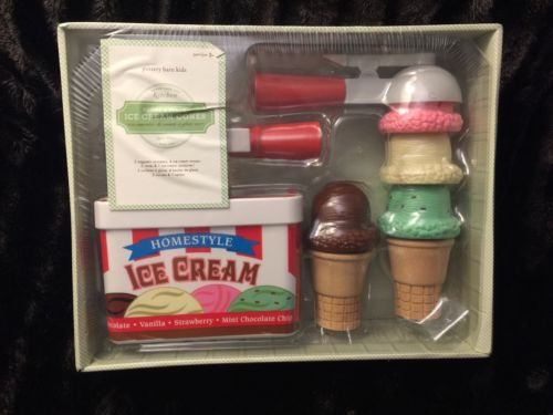 Pottery Barn Kids Kitchen Scoop & Snack Ice Cream Pretend Set Toy NEW