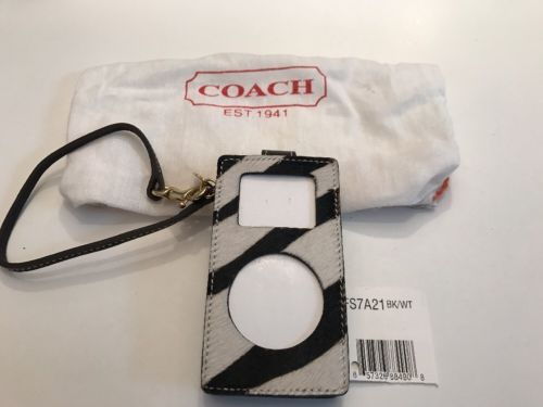 COACH Zebra Calf hair Stripe Ipod Mini Case Holder Wristlet NWOT And Clip