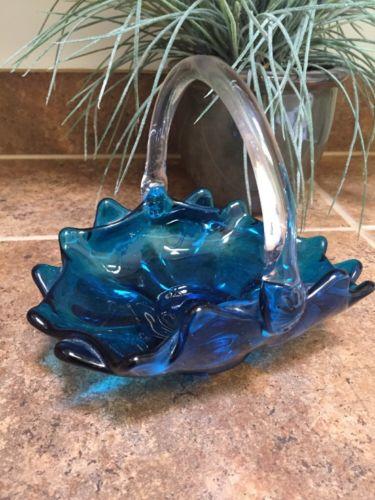 VINTAGE GLASS  BLUE BASKET BLENKO ? FENTON ?