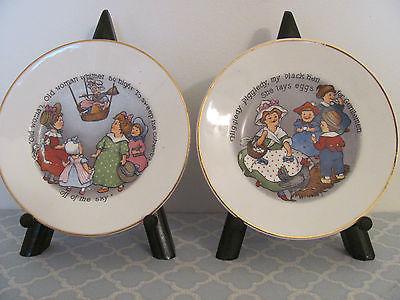 Pair Nursery Decor Antique Baby or Child's Plates Nursery Rhyme