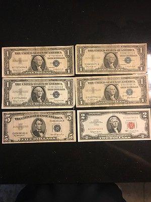 6 BILLS = 1-1963 $5 / 1-1953 $2 RED SEAL / 4-1957 $1 SILVER CERTIFICATE