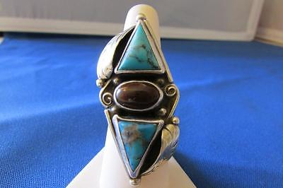Vtg sterling silver Native American Turquoise Mexican Fire opal large Ring sz7