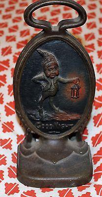 RARE Antique Bradley & Hubbard Gnome Elf w/Lantern Cast Iron Doorstop GOODNIGHT