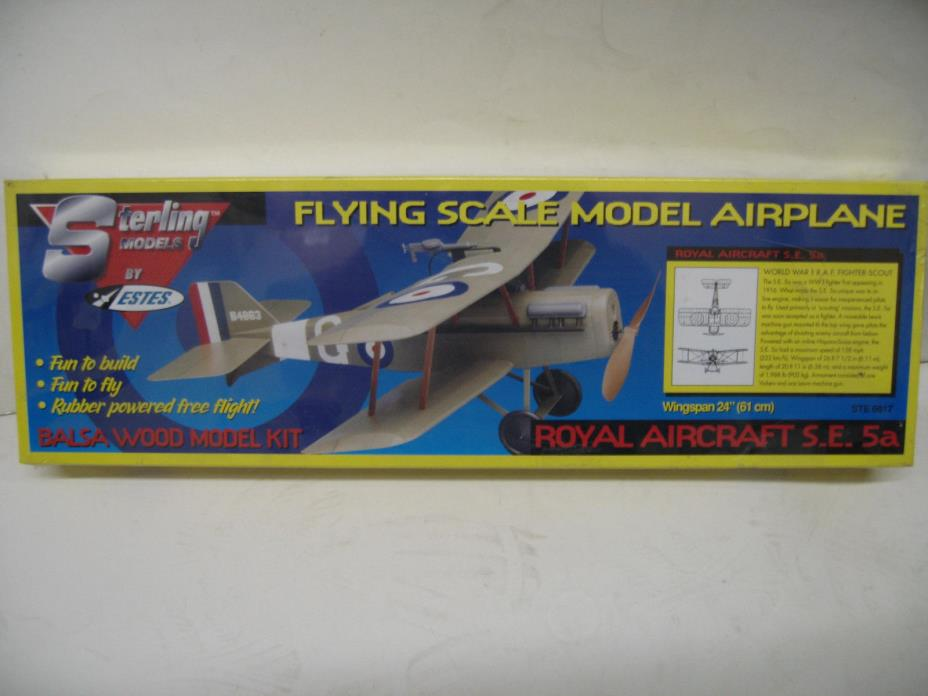 VINTAGE STERLING AIRPLANE 6017 SE5A BALSA KIT NEW 24