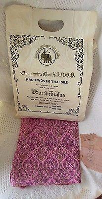 Vintage Hand Woven Thai Silk  plus 2 spools of silk thread