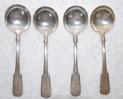 International Sterling Silver Soup Spoons - 1810 pattern Monogrammed Set of 4
