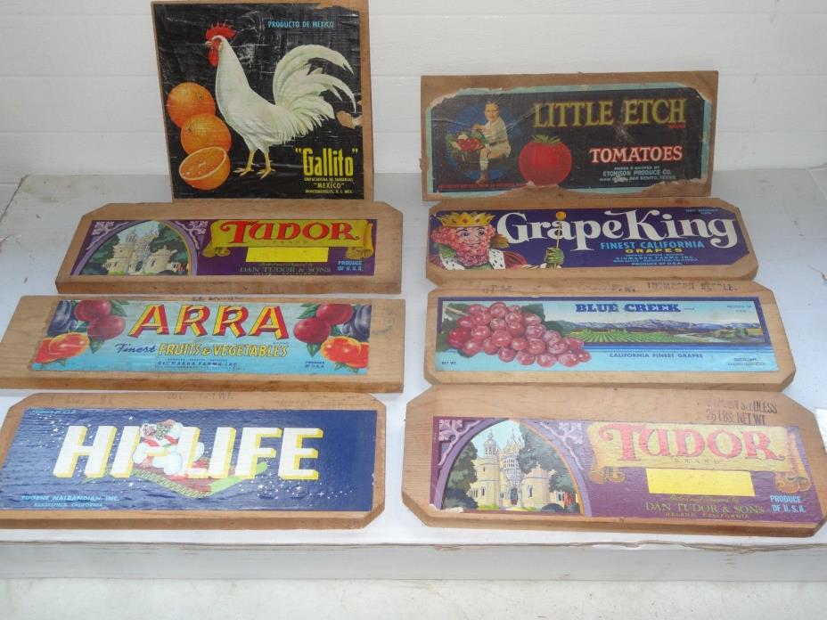Lot of 8,Vintage Fruit,Vegetable wood crate labels/box ends,Chicken,Rooster
