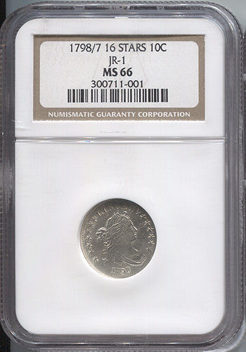 1798/97 Draped Bust Dime 16 Stars NGC MS66