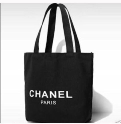 Chanel Black Tote Canvas Shopping Bag $100