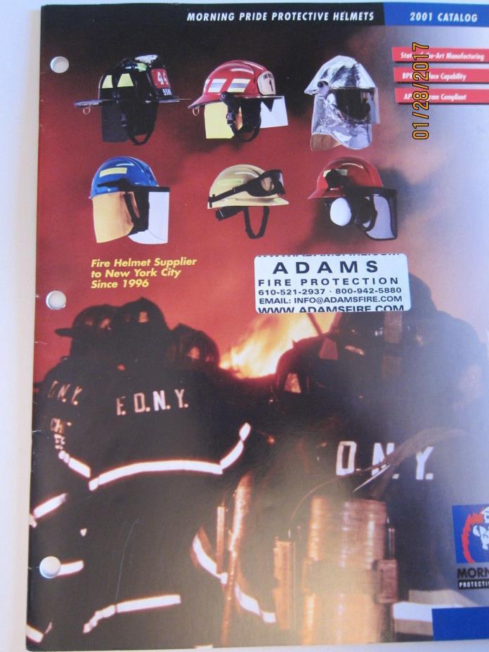 2001 ADAMS FIRE PROTECTION CATALOG * Morning Pride Helmets  FDNY Helmet Supplier