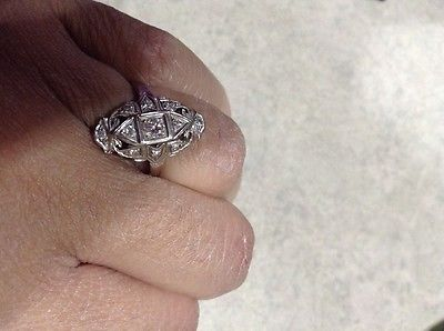 vintage art deco 10 kt white gold diamond ring.
