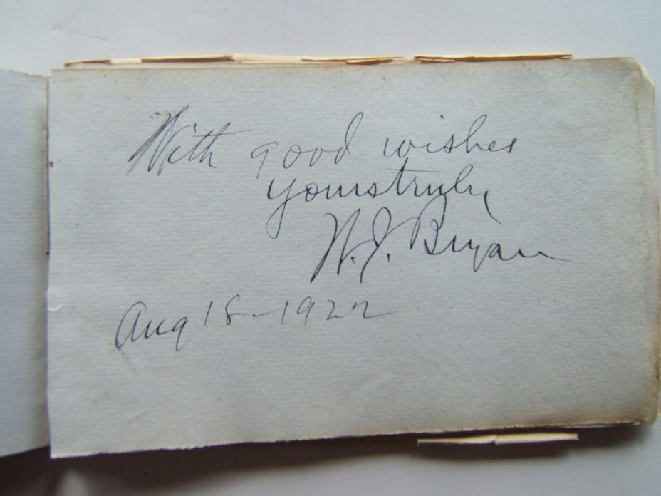 William Jennings Bryan Signed autograph book page 1922