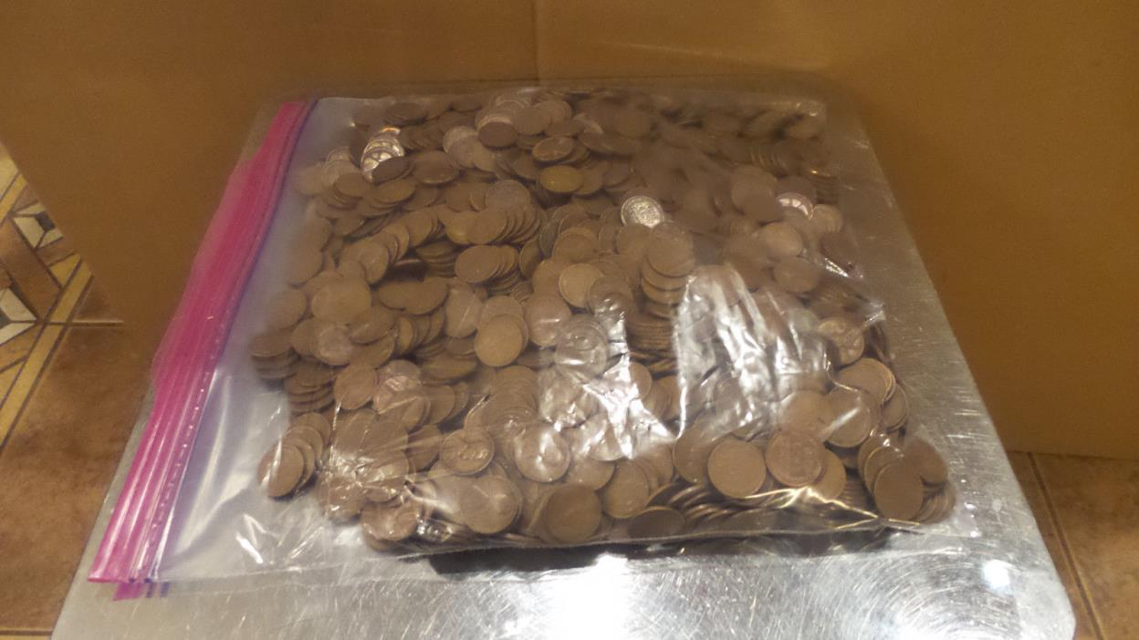 11 1/2 Pounds Wheat Pennies Approx 1600 Pennies, Unchecked