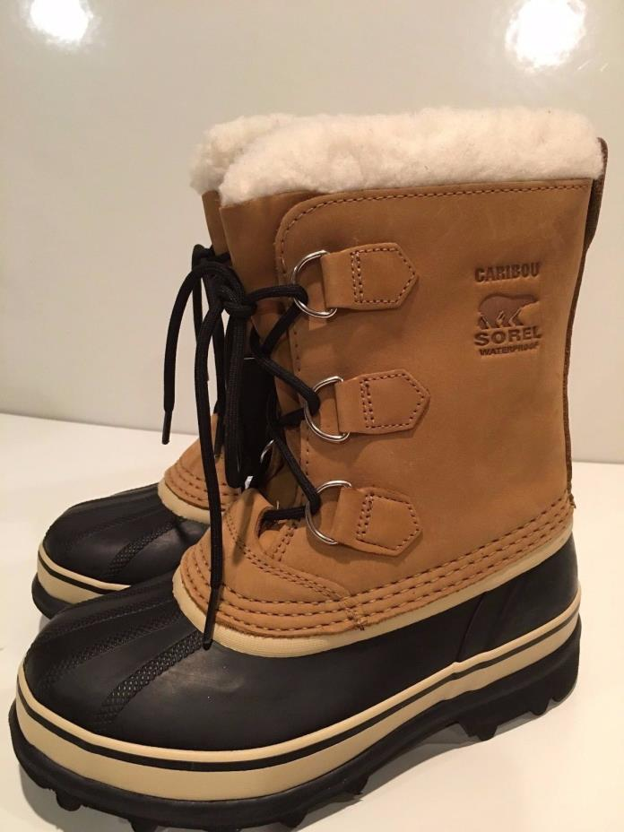 Sorel Boys' Youth Caribou Winter/Snow Waterproof Boots Size 4