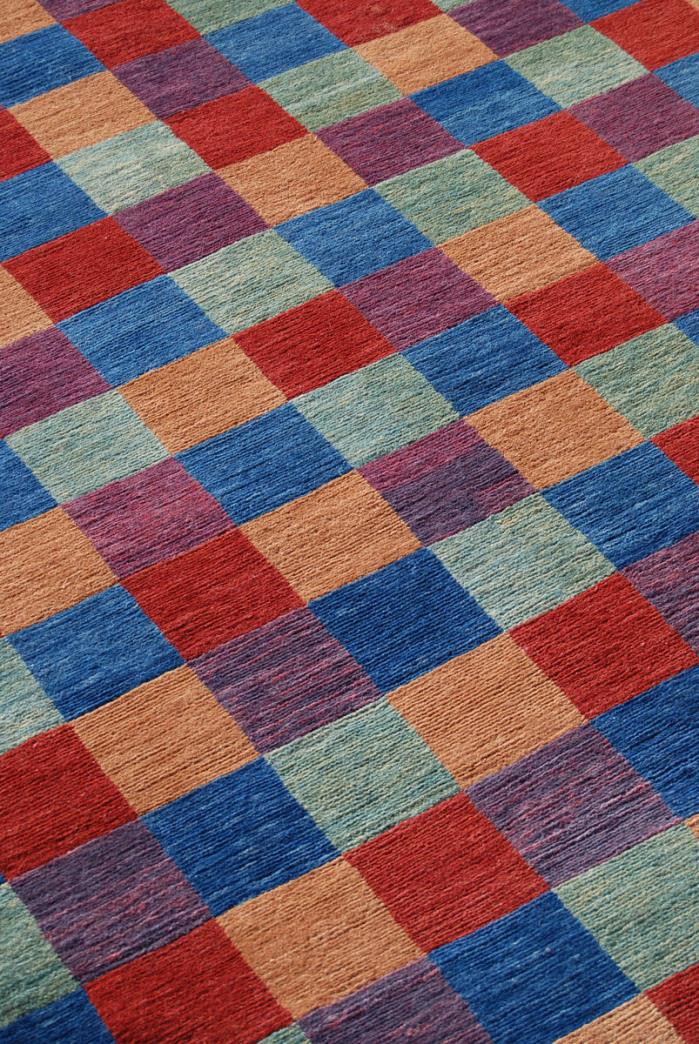 4x6 Handknotted Tibetan Wool Area Rug, Blue Red Purple, Modern, Organic Nontoxic