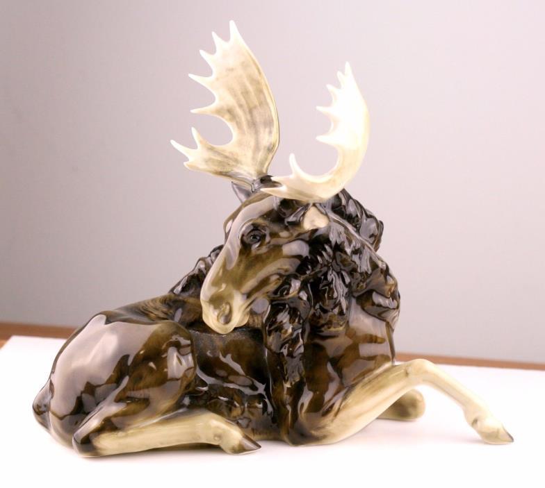 Vintage Hutschenreuther Resting Moose K. Tutler Germany Porcelain Figurine