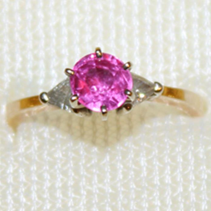 14k Gold, Vibrant Pink Lab Sapphire & Genuine Triangular Diamonds custom size 7
