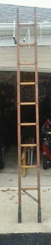 antique wood 10 foot fireman folding attic ladder