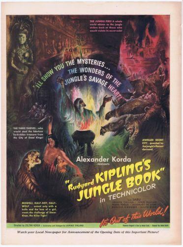 Rudyard Kipling Jungle Book 1942 Vintage Hollywood Illustrated Original Movie Ad