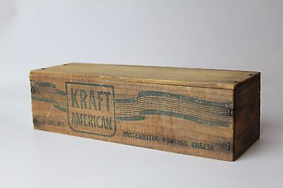 Vintage Primitive Wood KRAFT Velveeta Cheese Box Wooden Cheese Box 2 lb VTG