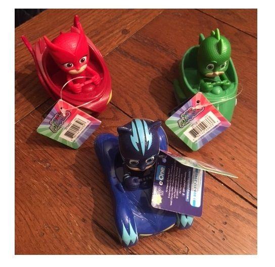 3 PJ MASKS MINI CARS Blue Catboy, Red Owlette,Green Gekko IN HAND!