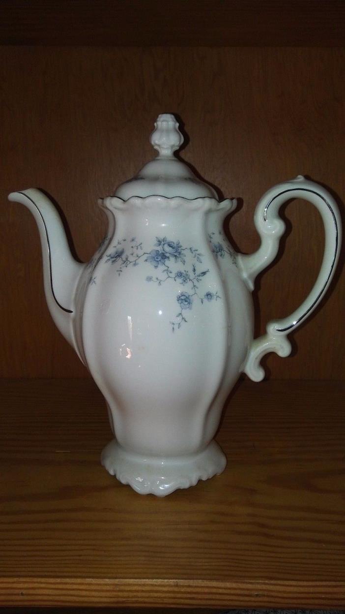 Johann Haviland Blue Garland Fine China Coffee Tea Pot with Lid Bavaria, Germany