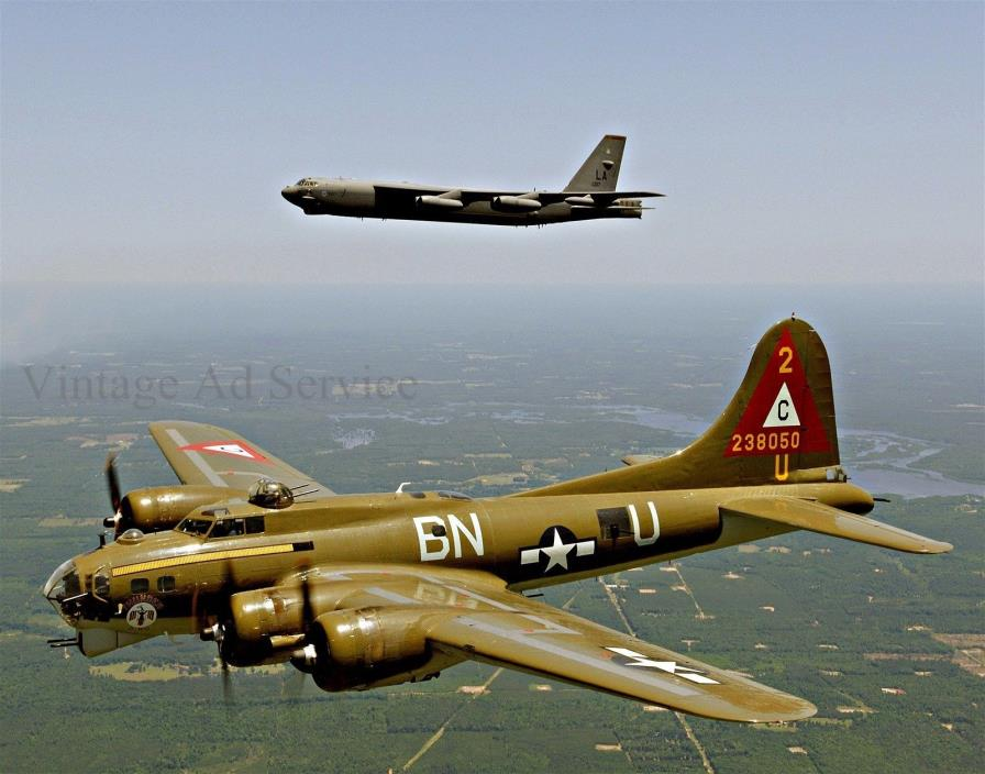 B-17G Flying Fortress and  B-52H Stratofortress. Giclee Photo Print. Size 11x14