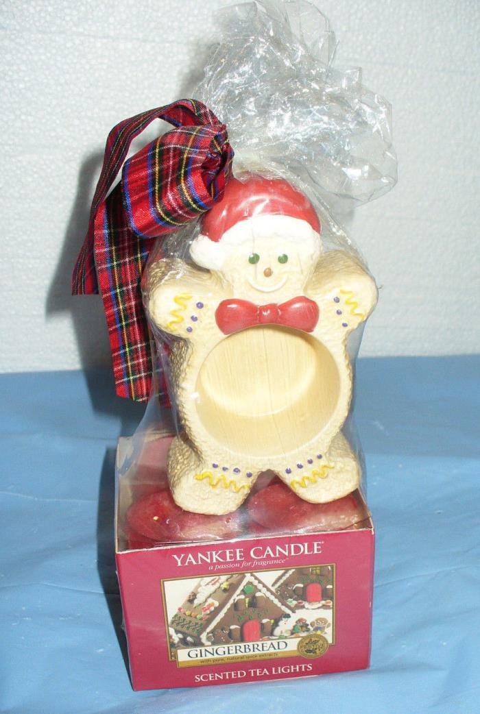 NEW Yankee Candle Gingerbread Man Tea Light Candles & Holder Gift Pack Set NIP