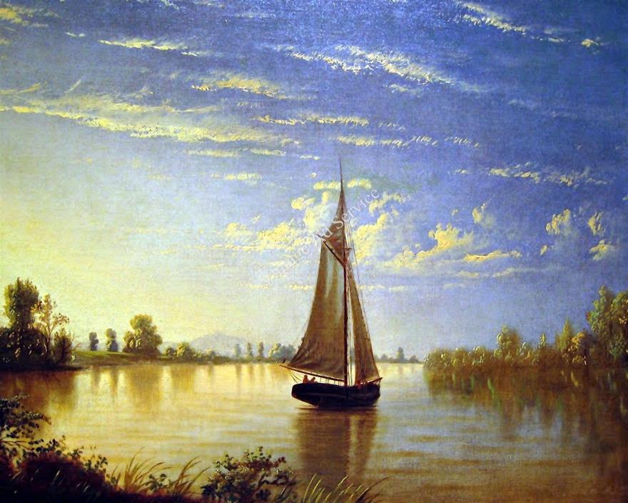 Sunset on the Sacramento River by Fortunato Arriola. Giclee Art Print Size 11x14