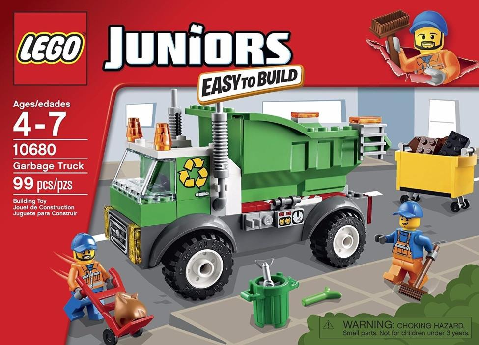 LEGO Juniors 10680 Garbage Truck Refuse Recycle 99pcs NEW-FREE PRIORITY SHIPPING