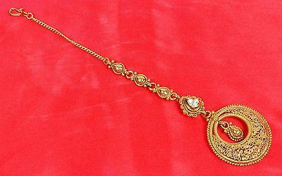 MT-2121 Indian Bollywood GoldPlated Polki Maang Tikka Hair Women Fashion Jewelry