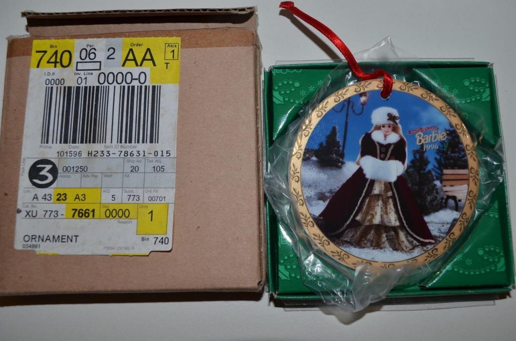 Barbie 1996 HAPPY HOLIDAYS Porcelain  Christmas Tree Ornament by Enesco